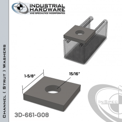 Channel ( Strut ) Washers Steel-Hot Dip Galv. 15/16 in. Hole X 1-5/8 in. Square X 1/4 in. Thick