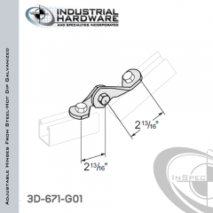 Adjustable Hinges From Steel-Hot Dip Galv. With 2-Holes X 9/16 in.