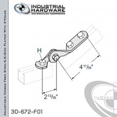 Adjustable Hinges From Steel-E.G. (ZP) With 3-Holes X 7/16 in. + 9/16 in.