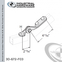 Adjustable Hinges From Steel-E.G. (ZP) With 3-Holes X 11/16 in. + 9/16 in.