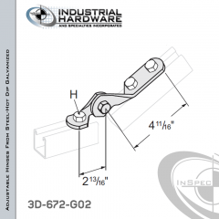 Adjustable Hinges From Steel-Hot Dip Galv. With 3-Holes X 9/16 in.