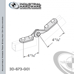 Adjustable Hinges From Steel-Hot Dip Galv. With 4-Holes X 9/16 in. Hole