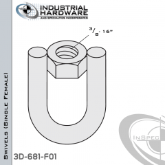 Strut Swivel (Single Female) From Steel-E.G. (Zinc Plated) With 3/8-16 Thread
