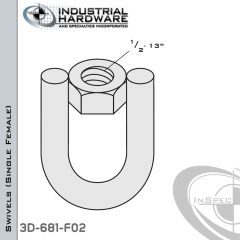 Strut Swivel (Single Female) From Steel-E.G. (Zinc Plated) With 1/2-13 Thread