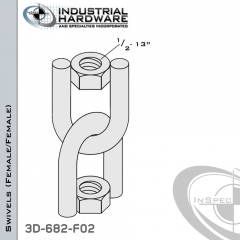 Strut Swivel (Female/Female) From Steel-E.G. (Zinc Plated) With 1/2-13 Thread