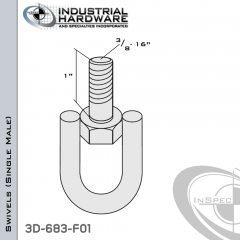 Strut Swivel (Single Male) From Steel-E.G. (Zinc Plated) With 3/8-16 x 1 in. Thread
