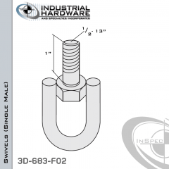 Strut Swivel (Single Male) From Steel-E.G. (Zinc Plated) With 1/2-13 x 1 in. Thread