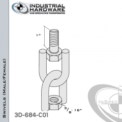 Strut Swivel (Male/Female) From Stainless Type 316 With 3/8-16 x 1 in. Thread