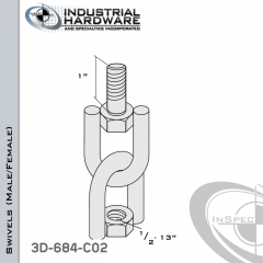 Strut Swivel (Male/Female) From Stainless Type 316 With 1/2-13 x 1 in. Thread