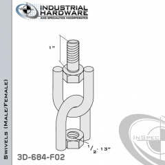 Strut Swivel (Male/Female) From Steel-E.G. (Zinc Plated) With 1/2-13 x 1 in. Thread