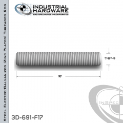 Threaded Rod From Steel-E.G. (Zinc Plated) With 7/8-9 X 10 Ft. Thread