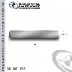 Threaded Rod From Steel-E.G. (Zinc Plated) With 7/8-9 X 12 Ft. Thread