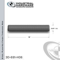 Threaded Rod From Plain Steel With 3/8-16 X 12 Ft. Thread