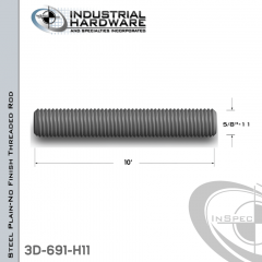 Threaded Rod From Plain Steel With 5/8-11 X 10 Ft. Thread