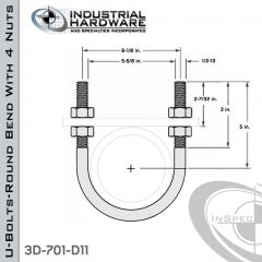 U-Bolts W/4 Nuts Plain Steel-Light Oil For 5 in. Pipe 7.78 in. Inside Length
