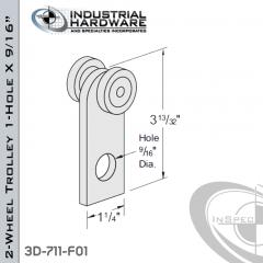 2-Wheel Trolley 1-Hole X 9/16 in. From Steel-E.G. (Zinc Plated)