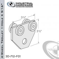 4-Wheel Trolley 1-Hole X 9/16 in. From Steel-E.G. (Zinc Plated)