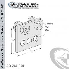 4-Wheel Trolley 3-Hole X 9/16 in. From Steel-E.G. (Zinc Plated)