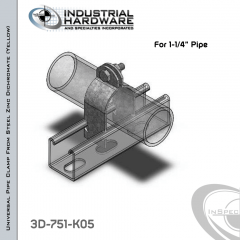 Universal Pipe Clamp-Rigid, IMC Or EMT-Assembled From Steel-Zinc Yellow Plating For 1-1/4 in. Pipe
