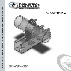 OD Pipe And Conduit Clamp From Steel-Zinc Yellow Plating For 3-1/2 in. OD Pipe
