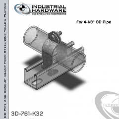 OD Pipe And Conduit Clamp From Steel-Zinc Yellow Plating For 4-1/8 in. OD Pipe