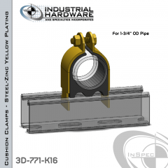 Cushion Clamps From Steel-Zinc Yellow Plating For 1-3/4 in. OD Tube