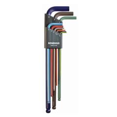 Bondhus Ball End X-Long Arm L-Wrench Metric 9pc Set (BLX9MXLCG) Color Coded finish