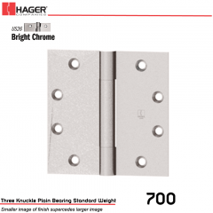 Hager 700 4.5 x 4.5 US26 Full Mortise Hinge Stock No 001607