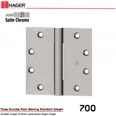 Hager 700 5 x 4.5 US26D Full Mortise Hinge Stock No 001727