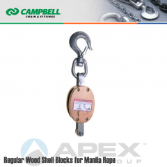 Campbell #7205434 4 in. Single Sheave Wood Block - WLL 1000 lb - Swivel Hook - 1/2 in. Manilla Rope