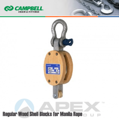 Campbell #7205435 4 in. Single Sheave Wood Block - WLL 1000 lb - Anchor Shackle - 1/2 in. Manilla Rope