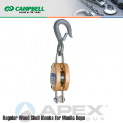 Campbell #7205436 4 in. Single Sheave Wood Block - WLL 1000 lb - Round Hook - 1/2 in. Manilla Rope