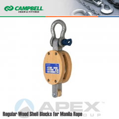 Campbell #7205635 6 in. Single Sheave Wood Block - WLL 1800 lb - Anchor Shackle - 3/4 in. Manilla Rope