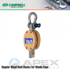 Campbell #7205835 8 in. Single Sheave Wood Block - WLL 2800 lb - Anchor Shackle - 1 in. Manilla Rope