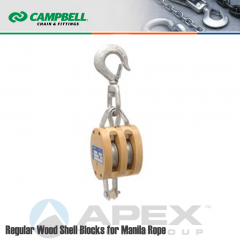 Campbell #7206934 4 in. Double Sheave Wood Block - WLL 1400 lb - Swivel Hook - 1/2 in. Manilla Rope