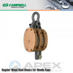 Campbell #7206935 4 in. Double Sheave Wood Block - WLL 1400 lb - Anchor Shackle - 1/2 in. Manilla Rope