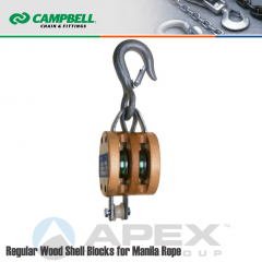 Campbell #7207036 5 in. Double Sheave Wood Block - WLL 1800 lb - Round Hook - 5/8 in. Manilla Rope