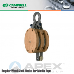 Campbell #7207135 6 in. Double Sheave Wood Block - WLL 2500 lb - Anchor Shackle - 3/4 in. Manilla Rope