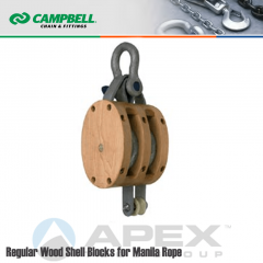 Campbell #7207335 8 in. Double Sheave Wood Block - WLL 3800 lb - Anchor Shackle - 1 in. Manilla Rope