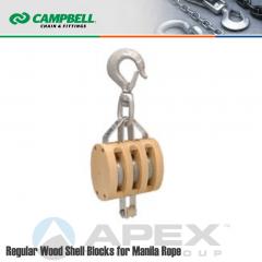 Campbell #7208534 4 in. Triple Sheave Wood Block - WLL 1800 lb - Swivel Hook - 1/2 in. Manilla Rope