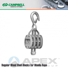 Campbell #7208536 4 in. Triple Sheave Wood Block - WLL 1800 lb - Round Hook - 1/2 in. Manilla Rope