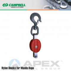 Campbell #7220214 2 in. Single Sheave Nylon Block - Manila Rope - WLL 500 lb - Swivel Hook w/Latch