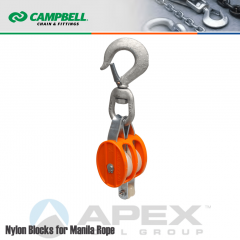Campbell #7222214 2 in. Double Sheave Nylon Block - Manila Rope - WLL 1000 lb - Swivel Hook w/Latch