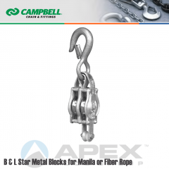 Campbell #7246935 4 in. Double Sheave B & L Star Metal Block - WLL 1600 lb - Round Hook