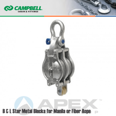 Campbell #7247136 6 in. Double Sheave B & L Star Metal Block - WLL 3300 lb - Anchor Shackle