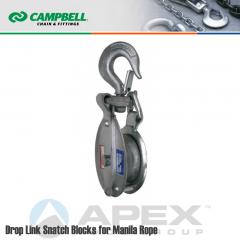 Campbell #7265696 6 in. Single Sheave Drop Link Snatch Steel Block - Manila Rope - WLL 2400 lb - Swivel Hook w/Latch