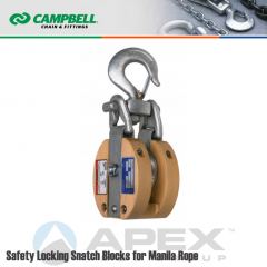 Campbell #7267186 6 in. Safety Locking Snatch Block - Manila Rope - WLL 3000 lb - Swivel Hook w/Latch