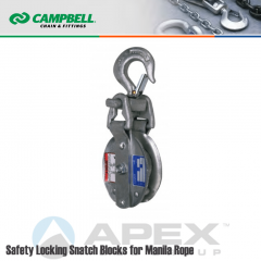 Campbell #7267396 8 in. Safety Locking Snatch Block - Manila Rope - WLL 5000 lb - Swivel Hook w/Latch