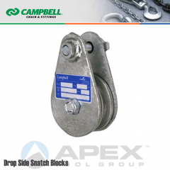 Campbell #7339765 4-1/2 in. Single Sheave Drop Side Snatch Blocks - Wire Rope - WLL 8818 lb - No Connection