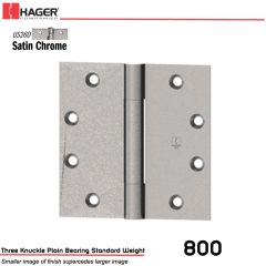 Hager 800 4.5 x 4.5 US26D Full Mortise Hinge Stock No 002422